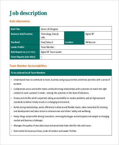 Free 9 Ux Designer Job Description Samples In Ms Word Pdf