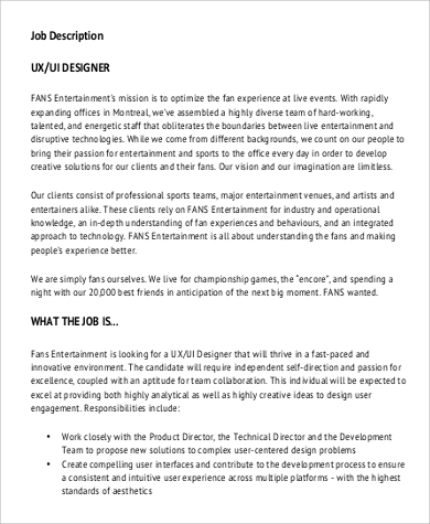 ux ui designer job description example