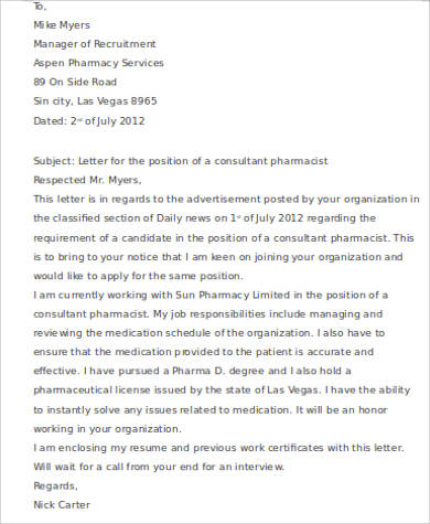 consultant pharmacist cover letter - Pharmacist Cover Letter Example