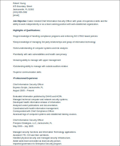 chief information security officer resume - Information Security Resume
