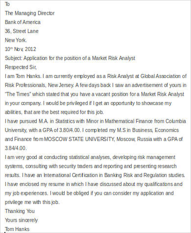 analyst consulting cover letter