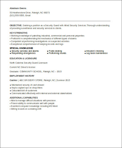 entry level security officer resume