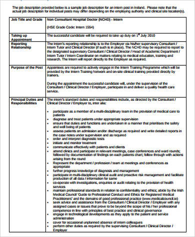 Sample Healthcare Administration Job Description 7