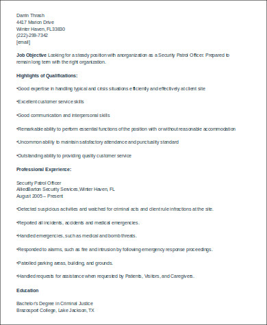 Security Patrol Officer Resume Example