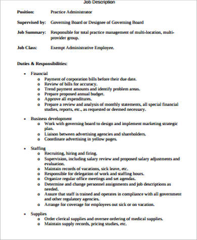 Sample Healthcare Administration Job Description - 7+ Examples In