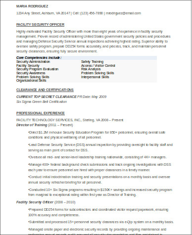 8 sample security officer resumes sample templates facility security officer resume altavistaventures