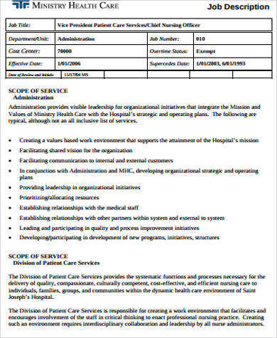 Sample Healthcare Administration Job Description   Examples In