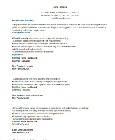 Sample Home Health Aide Resume - 7+ Examples In Word, Pdf