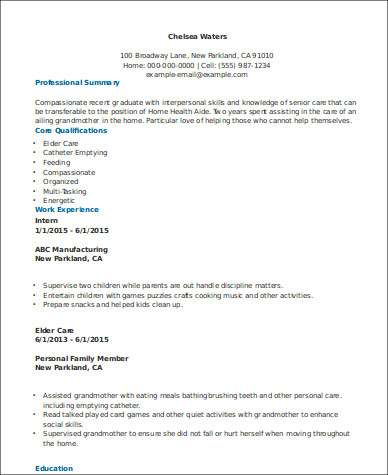 Entry Level Home Health Aide Resume