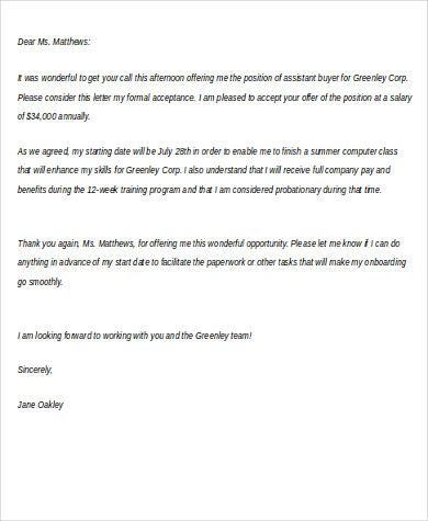 Writing Job Offer Thank You Letter Acceptance Of Thank You Letter