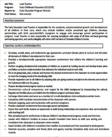 Sample Preschool Teacher Resume 6 Examples In Word Pdf