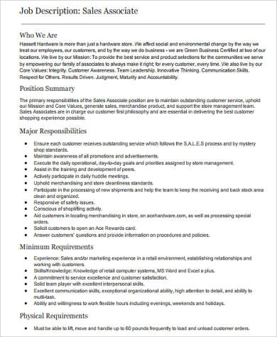 Sample Retail Sales Associate Job Description   Examples In WordPdf