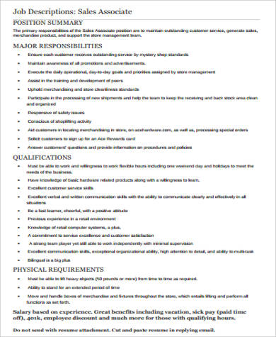 Retail Associate Job Description. Regional Sales Manager Job ...