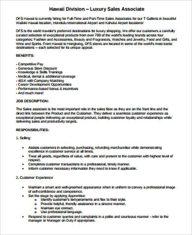 sample retail sales associate job description 6 examples in word pdf