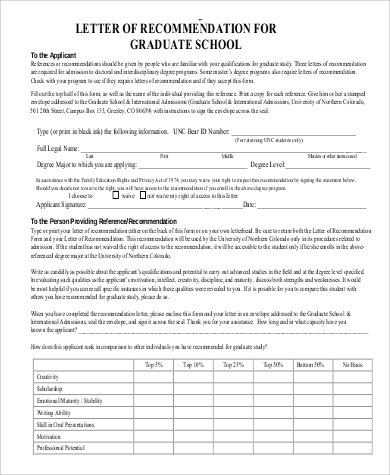 letter application for school 9 sample letters of recommendation for graduate school 8569