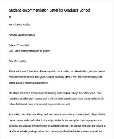 sample recommendation letter for graduate school 9 sample letters of recommendation for graduate school 24681 | Student Recommendation Letter for Graduate School1