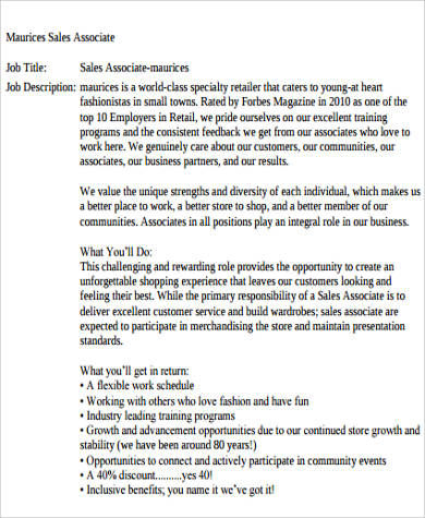 Sample Retail Sales Associate Job Description   Examples In