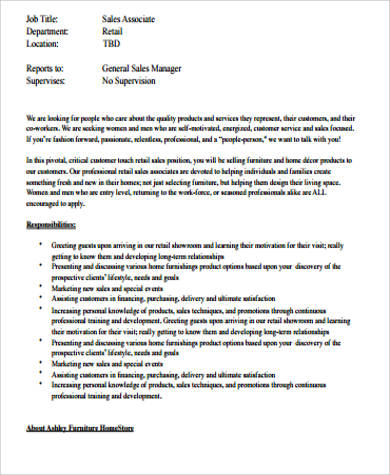 printable retail sales associate job description