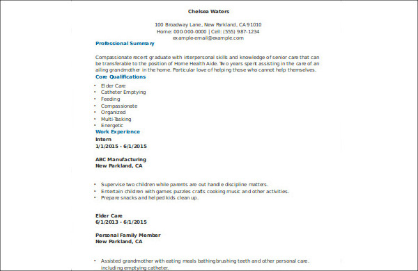 7  sample home health aide resumes