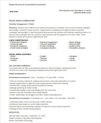 social media coordinator resume
