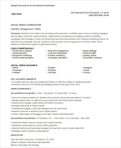 sample social media resume 8 examples in word pdf