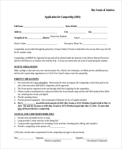 Sample Boy Scout Medical Form - 7+ Examples In Word, Pdf