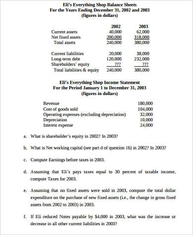 accounting income statement and balance sheet