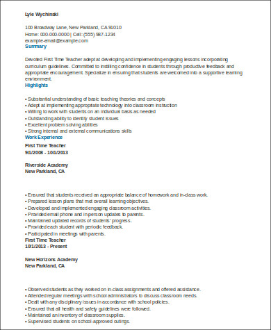 resume for first teaching job