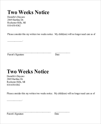 Basic Two Weeks Notice Example  2 Week Notice Template