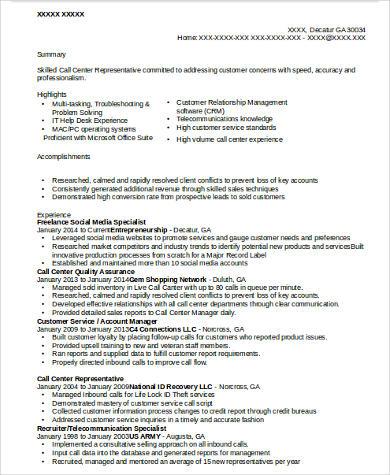freelance social media resume