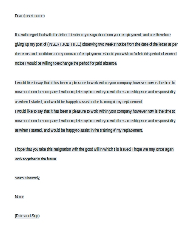 two weeks notice letter in word