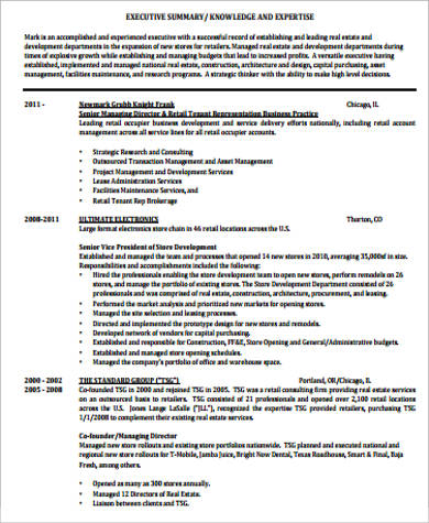 sample real estate resume 9 examples in word pdf