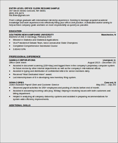 resume for first office job