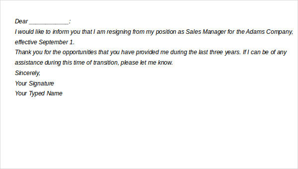Example Of Two Weeks Notice Letter from images.sampletemplates.com