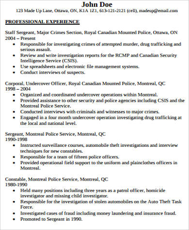 police officer resume with experience