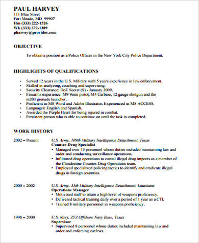 Sample Police Officer Resume   Examples In Word Pdf