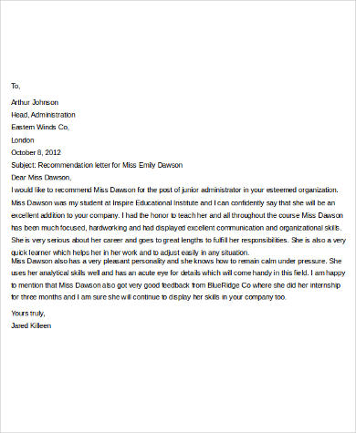 Attractive Professional Recommendation Letter For Job