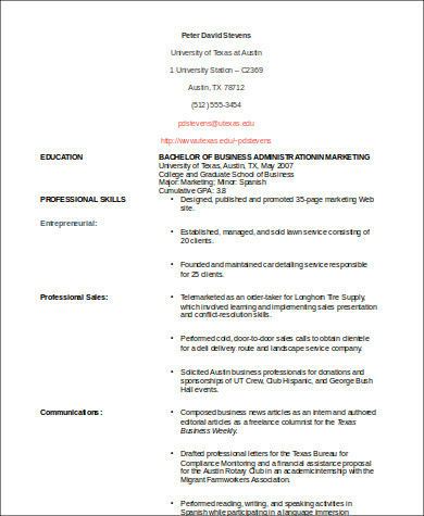 functional resume for first job