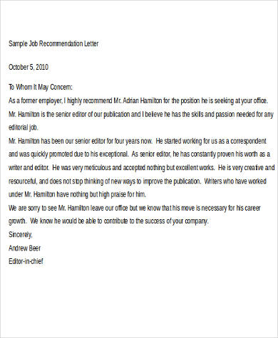 Sample Job Recommendation Letter - 9+ Examples In Word, Pdf