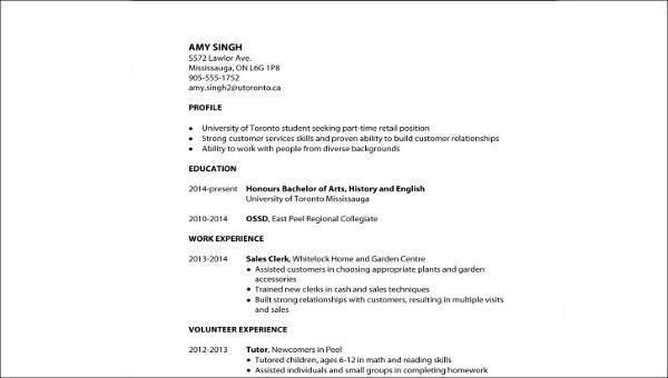 Free 8 Sample Resume For First Job In Ms Word Pdf