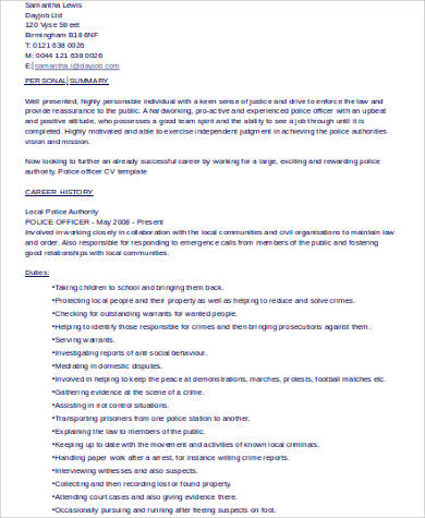 police officer resume example - Police Officer Sample Resume