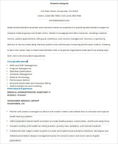 Sample Resume for Administrative Assistant - 9+ Examples in ...