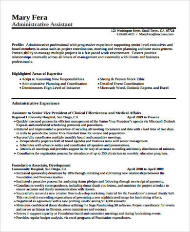 senior administrative assistant resume pdf