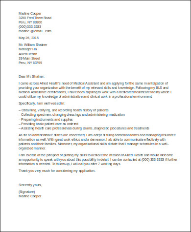 entry level cover letter for medical assistant - Cover Letter Sample For Medical Assistant
