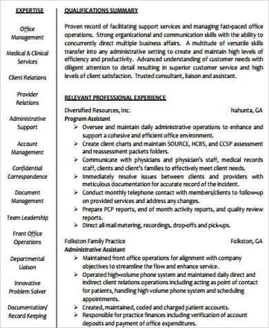 health care administrative assistant resume