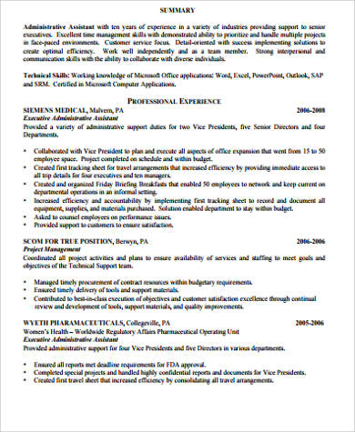 administrative assistant resume summary example