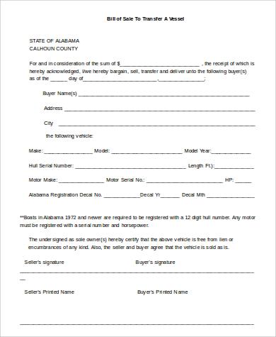 vessel bill of sale in word
