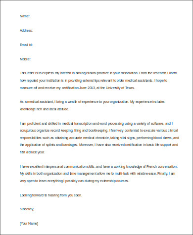 cover letter medical assistant externship See our sample medical assistant internship cover letter and office tasks while completing my externship at the x-ray medical technician-medical assistant.