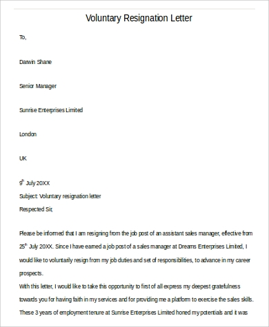 formal voluntary resignation letter