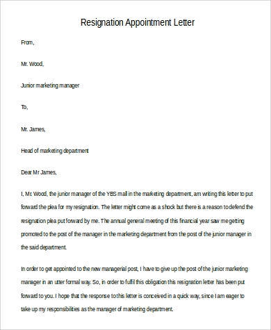 formal resignation appointment letter